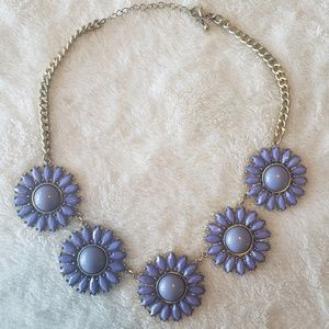 Chunky FLORAL purple and gold necklace